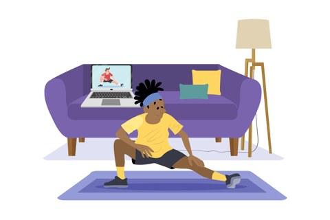 Grafik: Mann in gelbem Shirt macht Sport im Wohnzimmer mit Laptop