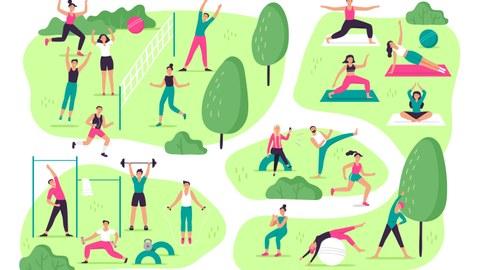 Grafik: viele Personen machen Sport im Freien