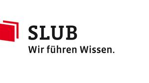 """Logo der Sächsischen Landesbibliothek – Staats- und Universitätsbibliothek Dresden mit dem Umtertitel """"Wir führen Wissen""""."""