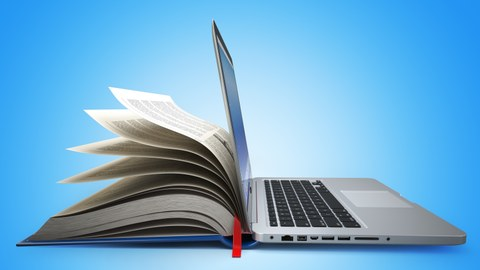 Laptop und Buch in Einem