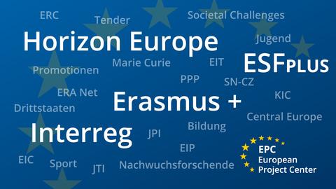 Übersicht EU Programme auf blauen Hintergrund