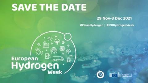 blau grüner Hintergrund mit Schriftzug zur European Hydrogen Week