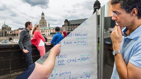 Bild Sprachunterricht und Touristen in Dresden