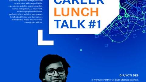 Es ist eine Person auf einem Poster zu sehen, das zu einem Career Lunch Talk einlädt.