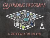 """Blackboard with heading """"GA Funding Programs: Specific to the Postdoc Phase & Habilitation."""" Also shown on the board are sketches of various symbols around the postdoc phase; e.g., books, microscope, diagram."""