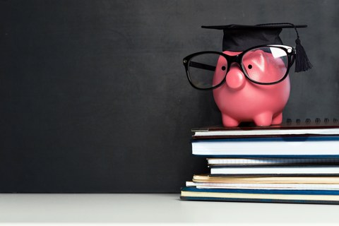 Pink piggy bank in front of a blackboard on a stack of books with glasses and doctor hat on head.