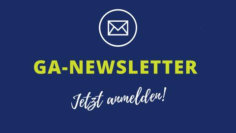 Blauer Hintergrund mit Text: Newsletter der Graduiertenakademie, Brief Icon