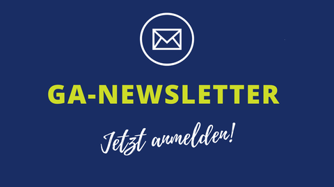 Blue background with text: Graduate Academy Newsletter, Icon Letter