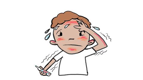 Ein Mensch, dem heiß ist und der ein Fieberthermometer in der Hand hält.