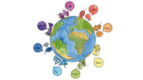 """Eine Weltkugel, bei der auf allen Seiten kleine Häuser stehen. Aus jedem Haus kommt eine Sprechblase, in der in verschiedenen Sprachen das Wort für """"Hallo"""" steht."""