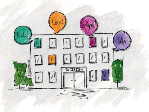 """Ein Haus, auf dem """"TU Dresden"""" steht. Aus dem Haus kommen Sprechblasen, in denen in verschiedenen Sprachen das Wort für """"Hallo"""" steht."""