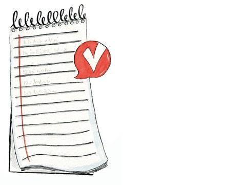 Ein Notizblock. Daneben sieht man das Logo von Verso Dresden: Eine Sprechblase mit einem V. Das steht für VERSO.