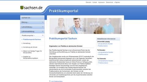 Webseite Praktikumsportal