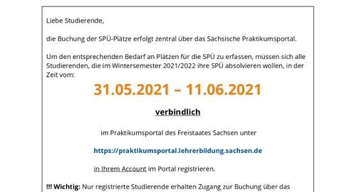 Information zur Registrierung Schulpraktische Übungen (SPÜ) Wintersemester 2021/2022