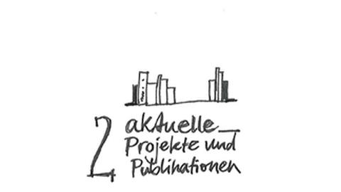 """Grafik: oben stehen Bücher auf einem Regal, unten steht: """"2 aktuelle Projekte und Publikationen"""""""