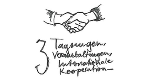 """Grafik: oben werden 2 Hände geschüttelt, unten steht: """"3 Tagungen, Veranstaltungen, Internationale Kooperation"""""""