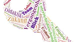 Grafik: Wortwolke in Form eines Schlüssels. Unter anderem sind die Worte Didaktik, Zukunft, Lehre, Team, Professur und Unterrichtsforschung zu lesen.