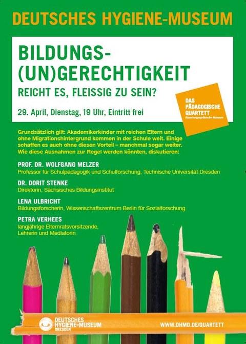 Plakat Pädagogisches Quartett Bildungsgerechtigkeit