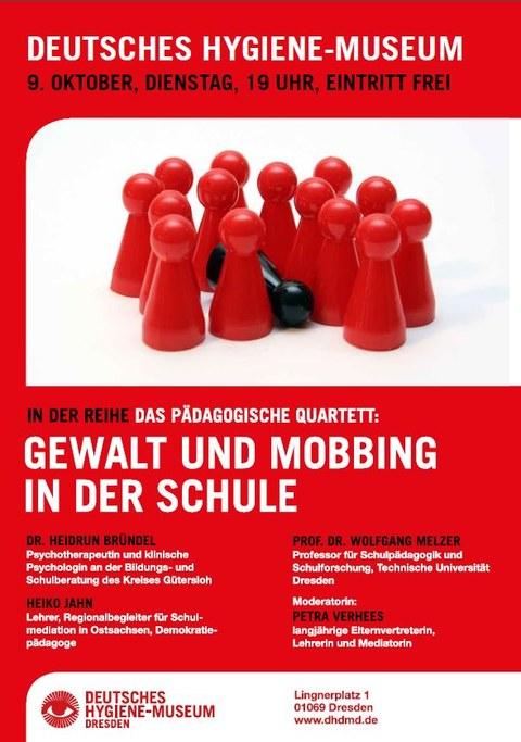 Plakat Pädagogisches Quartett Gewalt und Mobbing