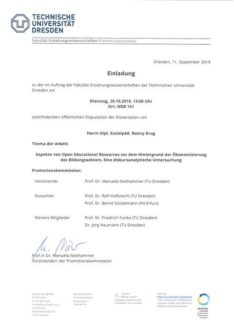 Einladung zur Verteidigung der Dissertation von Herrn Ronny Krug