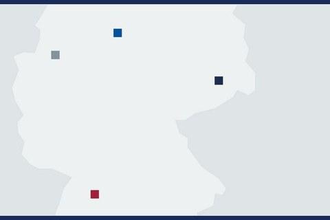 Eine vereinfachte Karte mit den Standorten, markiert
