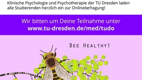 """Postkarte der Studie """"Bee Healthy!"""" mit einer Biene und der Frage: Was hält Dich gesund an der TUDresden"""