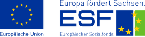 Logos der Projektförderer: EU/ESF, Freistaat Sachsen,