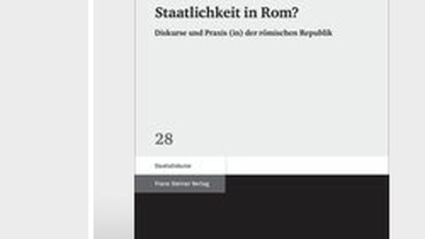 """Buchcover der Dissertation von Lundgreen: """"Staatlichkeit in Rom"""", Stuttgart 2014."""