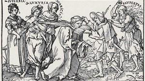 Zu sehen ist ein Holzschnitt von 1521 mit einer Darstellung eines Mönches.