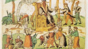 Zu sehen ist eine Darstellung eines Hexensabbats von 1570.