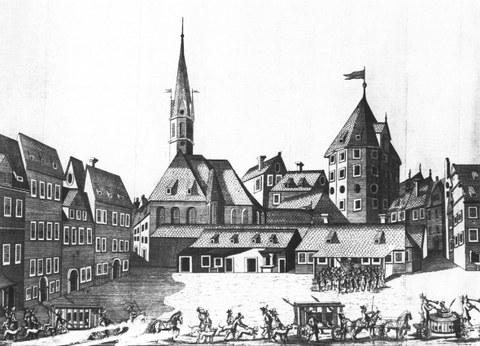 """Die wohl bekannteste und mehrfach gedruckte Abbildung des alten Pulverturms; Kupferstich von Georg Jakob Schneider anlässlich der """"Durchlauchtigsten Zusammenkunft"""" 1678"""