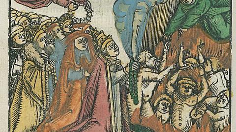 Holzschnitt, der die Jenseitsvorsorge der Rosenkranzbruderschaft darstellt