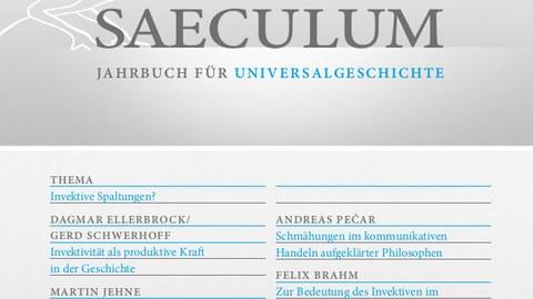 Frontcover Saeculum 70. Jahrgang 1. Halbband: Thema Invektive Spaltungen?