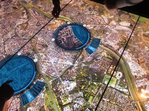 Breslau/ Wrocław aus der Luft, hier: Foto aus der Ausstellung des Wissenszentrums Hydropolis, Wrocław.