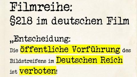 Filmreihe: Paragraph 218 im deutschen Film