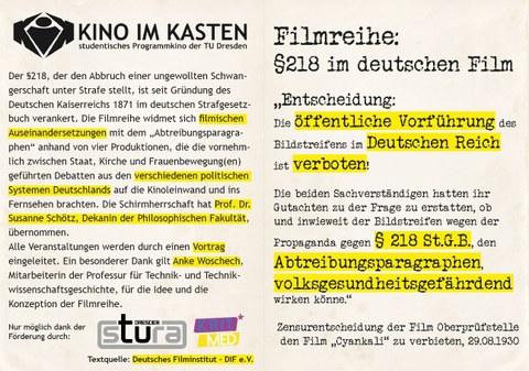 """Flyer der Filmreihe """"218"""", Seite 1"""