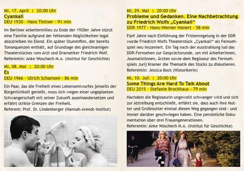"""Flyer der Filmreihe """"218"""", Seite 2"""