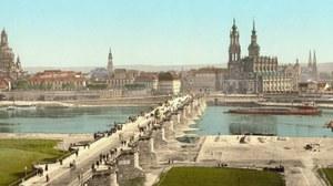 Dresdner Augustusbrücke im Bau um 1900