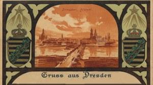 Historische Postkarte von Dresden mit sächsischem Wappen