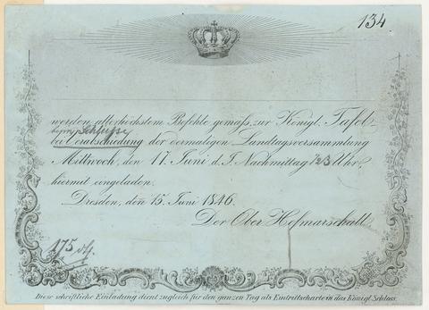 Einladung zur Landtagstafel 1846