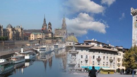 Stadtpanorama von Dresden und Trento