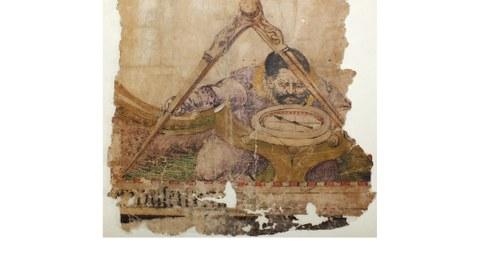 Weißes Buchcover mit Abbildung von Pergament darauf ein Mann der mit Vermessungsinstrumenten arbeitet