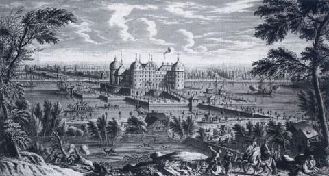Schloss Moritzburg um 1733 mit Tiergehege im Vordergrund.jpg