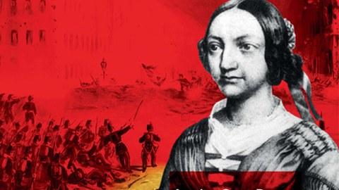 """Das Bild zeigt ein Plakat zum Kolloquium """"Louise Otto-Peters und die Revolution von 1848/49"""" aus dem Jahr 2009."""