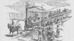Das Bild zeigt eine Darstellung der Eröffnung der Stockton and Darlington Railway 1825.
