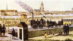 Die Grafik zeigt einen farbigen Druck von C. D. Löscher. Darauf ist die erste Fahrt der Leipzig-Dresdner Eisenbahn 1838 dargestellt.