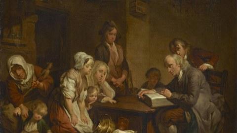 Jean-Baptiste Greuze - der Hausvater, der aus der Bibel vorliest
