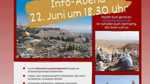 Plakat zum Info-Abend für ein Studienjahr in Jerusalem