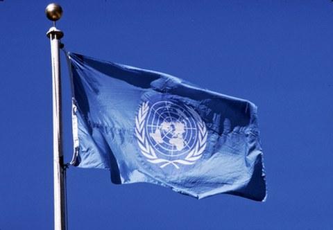 Fahne mit UN Logo