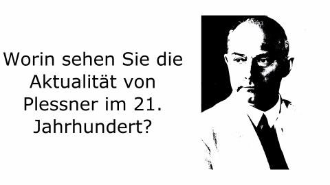 """Der Satz """"Worin sehen Sie die Aktualität Helmuth Plessners im 21. Jahrhundert?"""" neben einem schwarz-weißen Portrait Helmuth Plessners"""